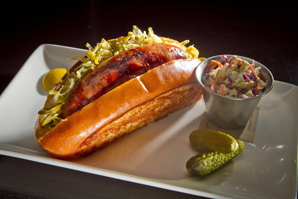 """The """"Ballpark"""" home made sausage at Jasper's Restaurant in San Francisco, Calif. is seen on March 19th, 2012."""