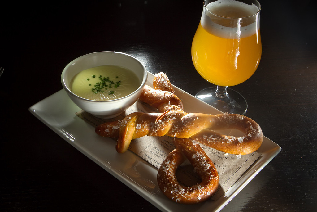 The warm soft Pretzel with a beer at Jasper's Restaurant in San Francisco, Calif. is seen on March 19th, 2012.
