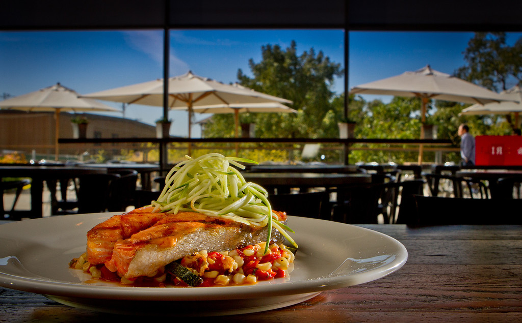 The grilled Salmon Steak at the Kitchen Door restaurant in Napa, Calif., is seen on August 12th, 2011.