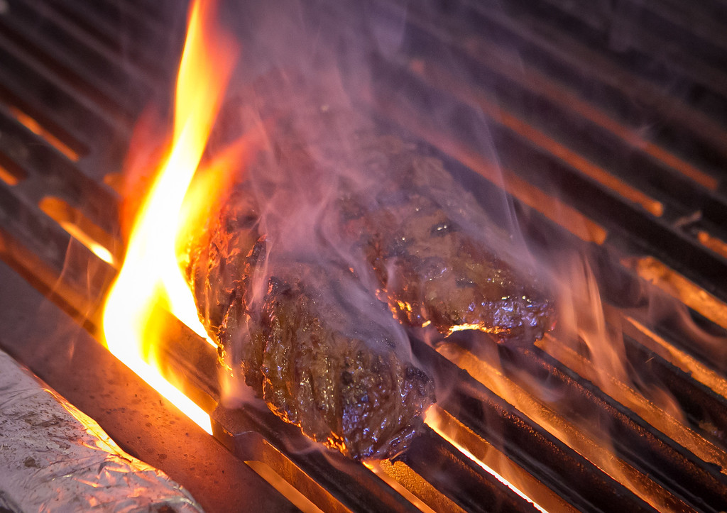 Hangar Steak on the grill at Limon Rotisserie in San Francisco, Calif., is seen on Thursday, October 18th, 2012.