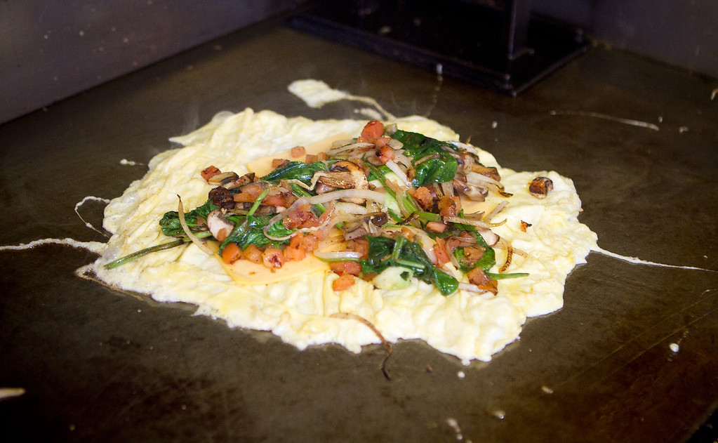 The A+ Omelette being cooked at the Little Griddle restaurant in San Francisco, Calif., on Thursday, January 20th, 2012.