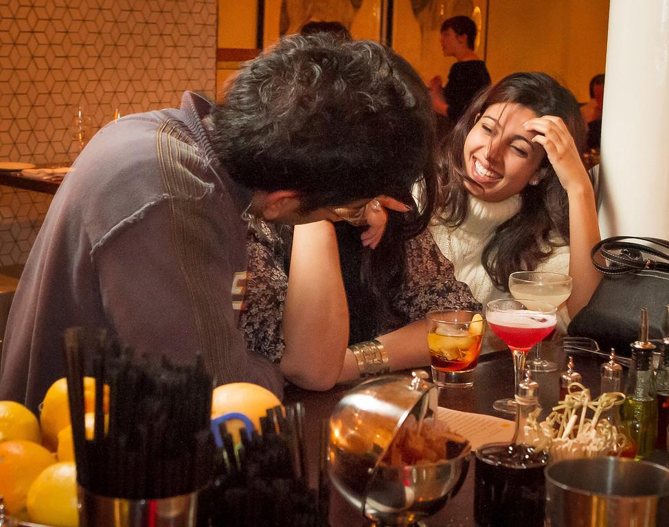 (Right to Left) Anisha Babbar and Sameer Singh enjoy drinks at Locanda in San Francisco, Calif., on Friday, November 23rd, 2012.