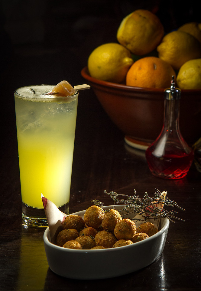 The Nonna del Diavolo cocktail with Fried Olives at Locanda in San Francisco, Calif., is seen on Friday, November 23rd, 2012.