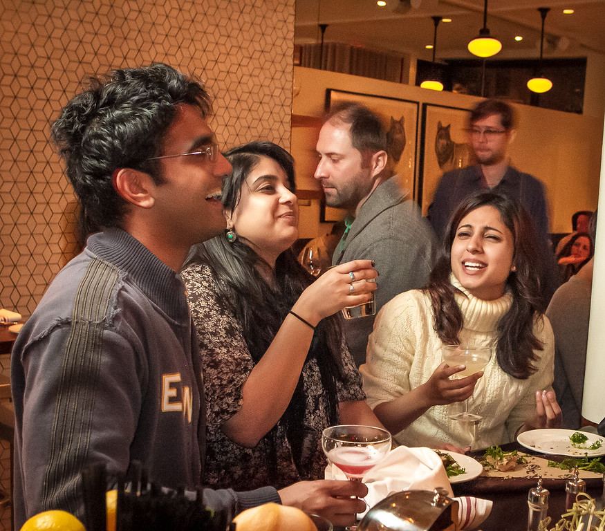 (Right to Left) Anisha Babbar, Pramiti Singh, and Sameer Singh enjoy drinks at Locanda in San Francisco, Calif., on Friday, November 23rd, 2012.