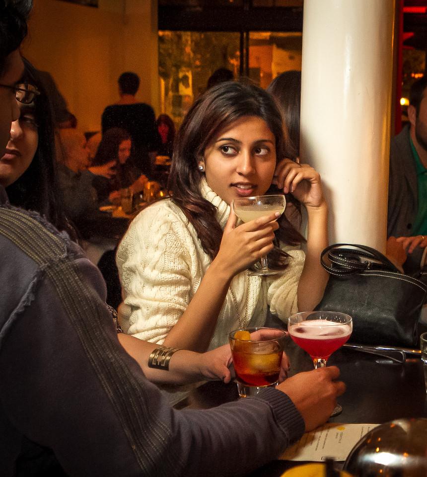 Anisha Babbar enjoys drinks with friends at Locanda in San Francisco, Calif., on Friday, November 23rd, 2012.