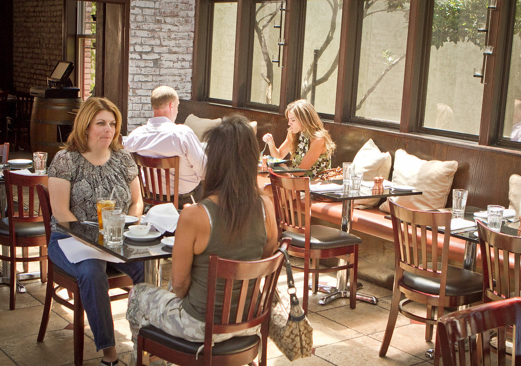People enjoy lunch at Lokanta restaurant in Pleasanton, Calif., on Friday, June 15th, 2012.