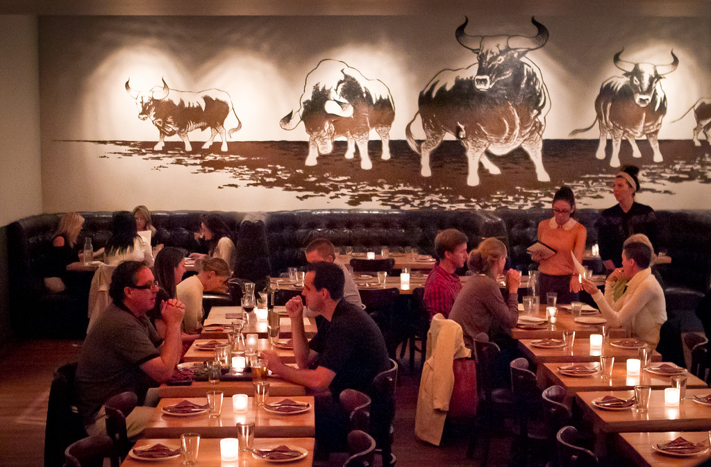 People enjoy dinner at Lolinda Steakhouse in San Francisco, Calif., on Friday, October 19th, 2012.