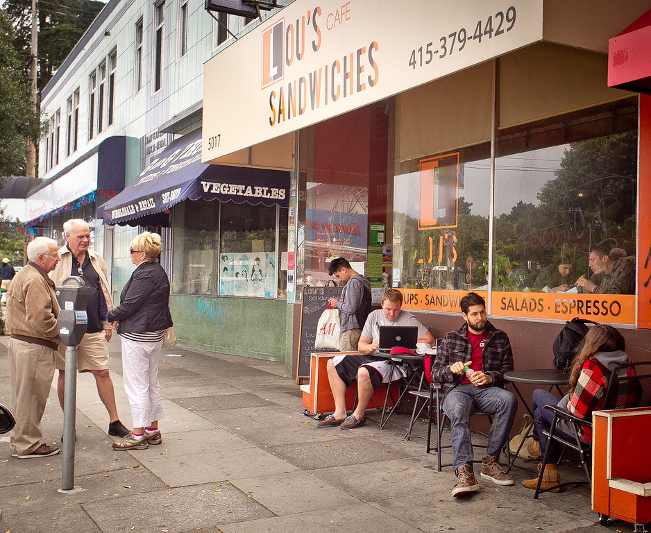 Customer's wait for sandwiches at lunch time outside of Lou's Cafe in San Francisco on Friday, September 14th, 2012.