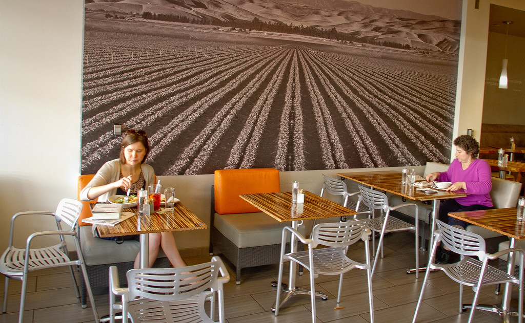 People enjoy dinner at Lyfe restaurant in Palo Alto, Calif., on Saturday, June 9th, 2012.