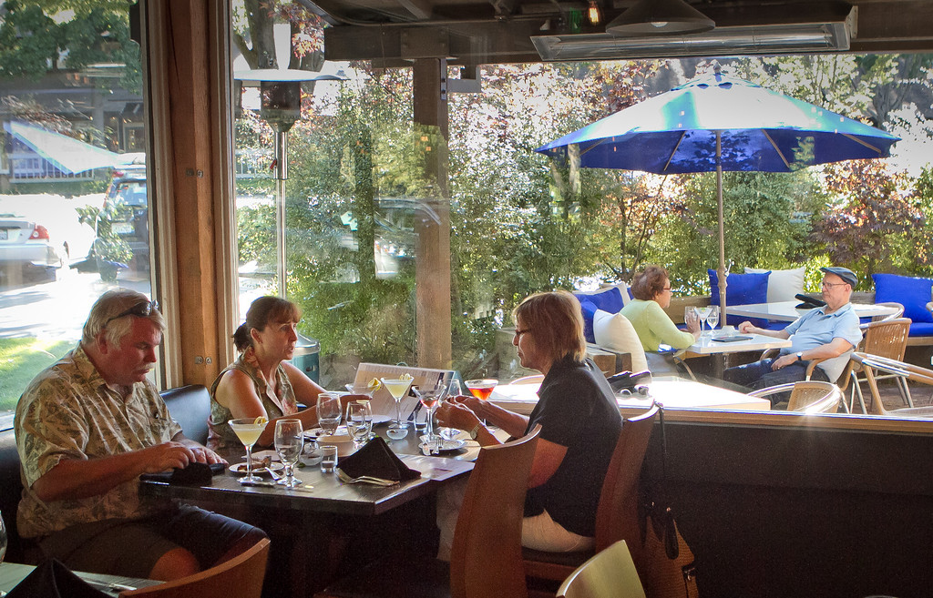 People enjoy dinner at the Martini Sky Bar in Danville, Calif.,  on Thursday, August 9th, 2012.