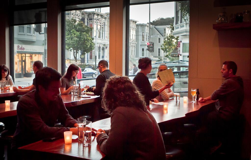 Diners enjoy dinner at Maven Restaurant in San Francisco, Calif., on Thursday, April 27th, 2012.