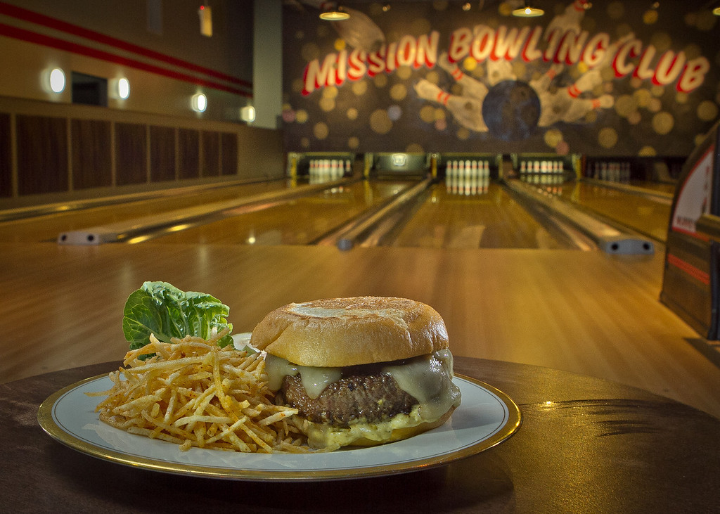 The Mission Burger with Home Fries at  Mission Bowling Club in San Francisco, Calif., is seen on Friday, May 11th, 2012.