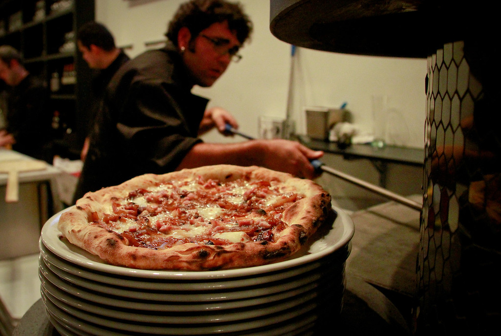 A pizza from the oven at Mozzeria restaurant in San Francisco, Calif., is seen on Thursday, December 29th,  2011.