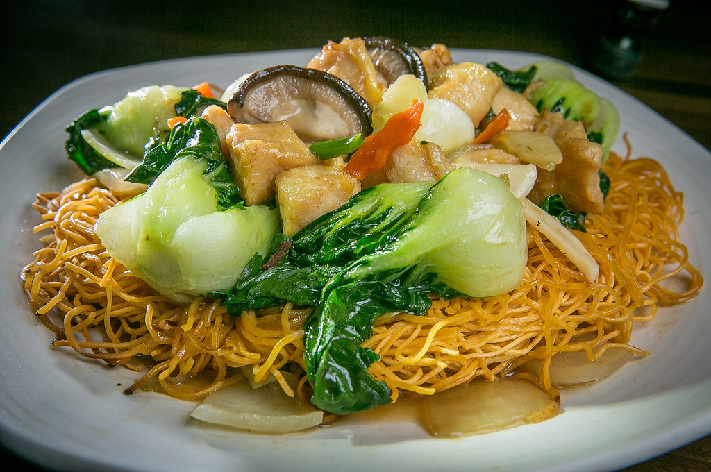 Hong Kong Crispy Noodles with Chicken at My China restaurant in San Francisco, Calif. are seen on Saturday, January 19th, 2013.