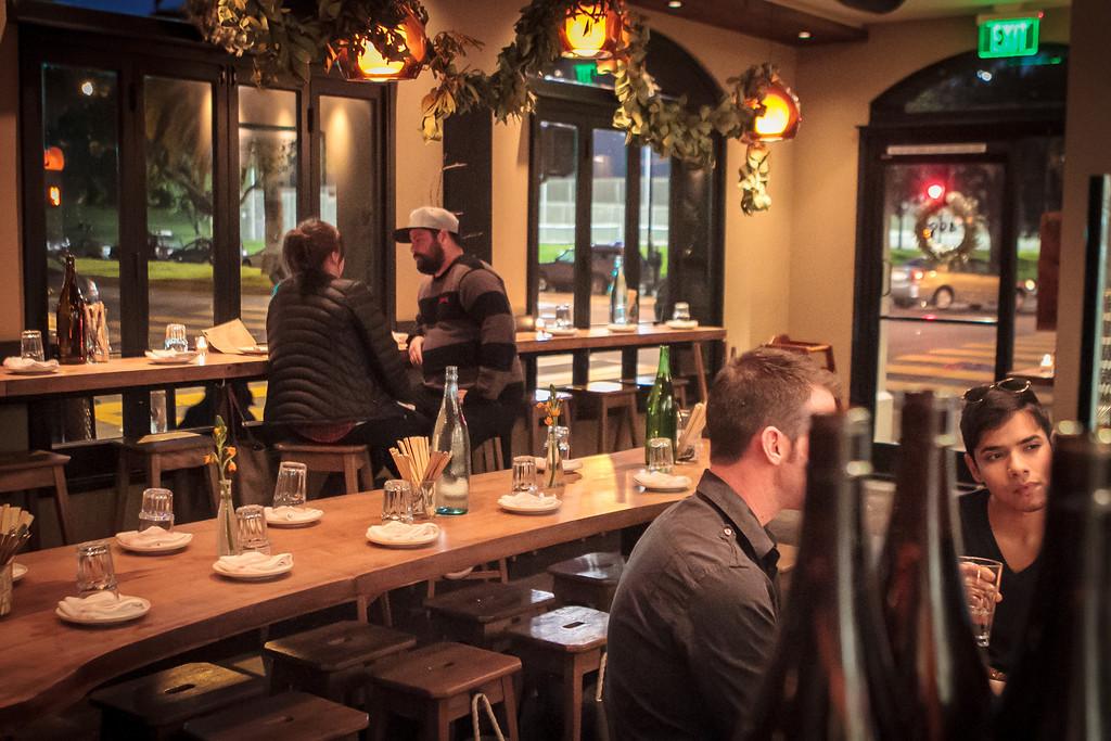 People enjoy an early dinner at Namu Gaji in San Francisco, Calif. on Thursday, January 3rd, 2013.