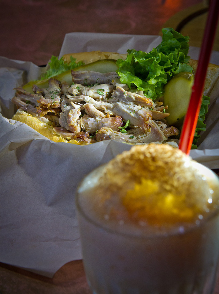 The Pork Po'Boy with the Lowrider Slushie at the New Easy bar in Oakland is seen on Saturday, September 29th, 2012.
