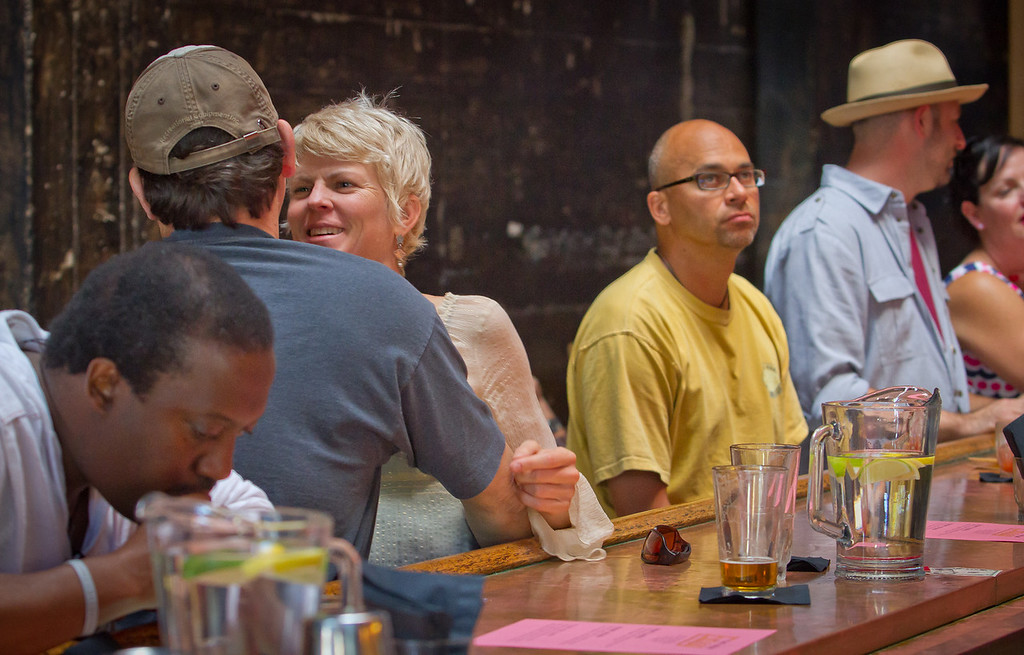 People enjoy Happy Hour at the New Easy bar in Oakland on Saturday, September 29th, 2012.