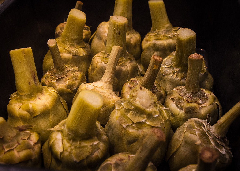 Artichokes after being steamed at Odalisque restaurant in San Rafael, Calif., are seen on Saturday, January 5th, 2013.
