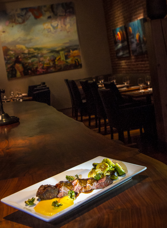 The Bavette Steak with Brussels Sprout at Odalisque restaurant in San Rafael, Calif., is seen on Saturday, January 5th, 2013.