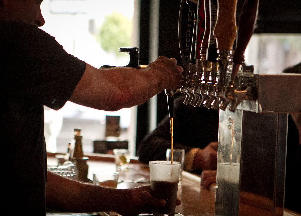 Bartender Danny Grenolio pours a beer at Old Ship Saloon in San Francisco, Calif., is seen on Monday April 2nd, 2012.