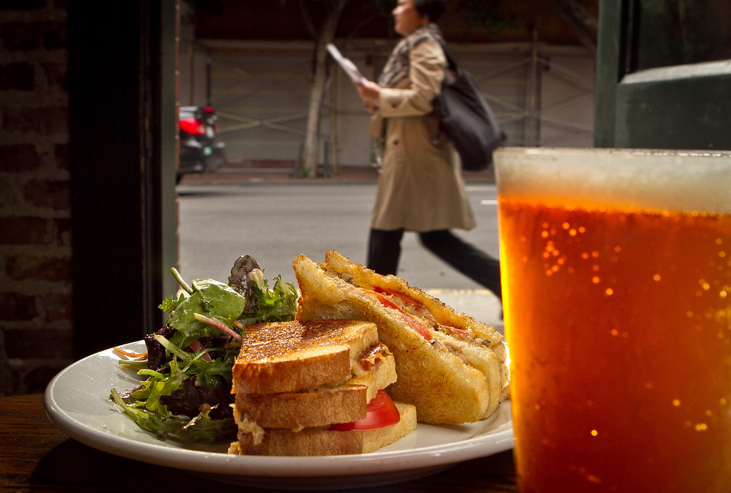 The Ultimate Grilled Cheese Sandwich with a Poppy Jasper Amber Ale at the Old Ship Saloon in San Francisco, Calif., is seen on Monday April 2nd, 2012.