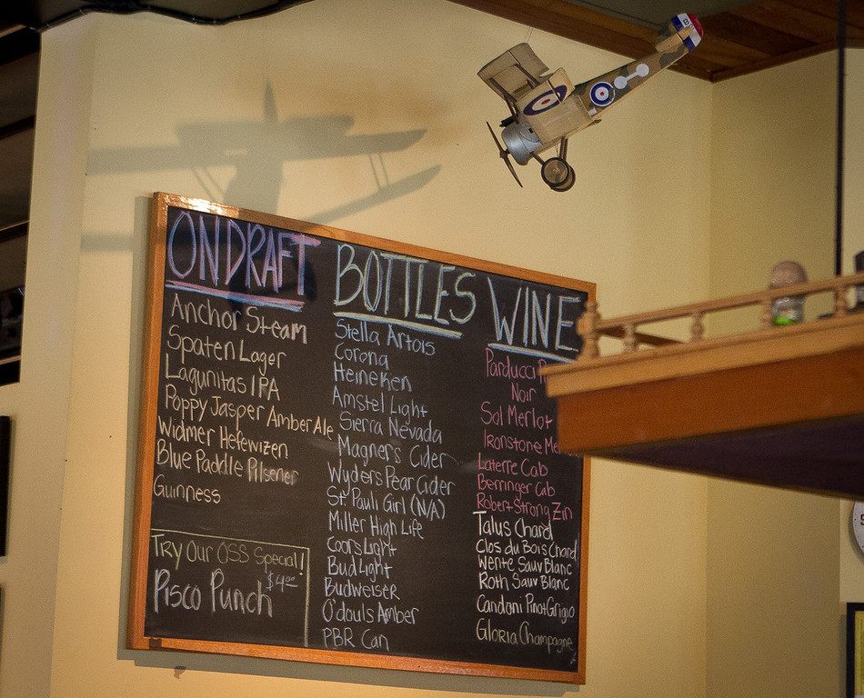 The chalk board menu at the Old Ship Saloon in San Francisco, Calif., is seen on Monday April 2nd, 2012.