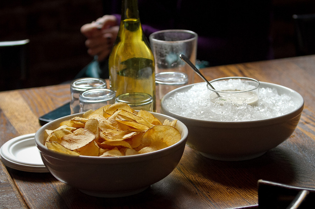 Home made Potato Chips with Dip at the Old Ship Saloon in San Francisco, Calif., is seen on Monday April 2nd, 2012.
