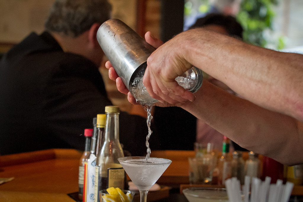Bartender Danny Grenolio at pours a Martini at the Old Ship Saloon in San Francisco, Calif., on Monday April 2nd, 2012.