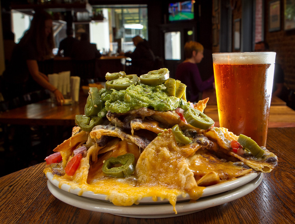 The Old Ship Nachos with a Poppy Jasper  Amber Ale at the Old Ship Saloon in San Francisco, Calif., is seen on Monday April 2nd, 2012.