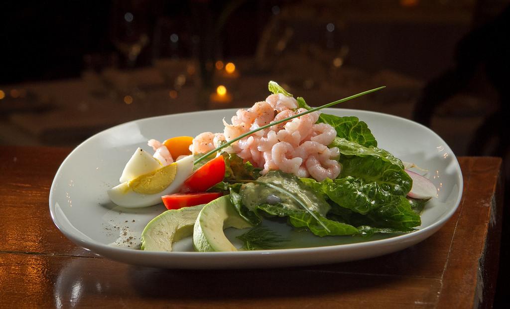 The Wild Oregon Shrimp Salad at Olive & Vine restaurant in Glen Ellen, Calif., is seen on Friday, May 18th, 2012.
