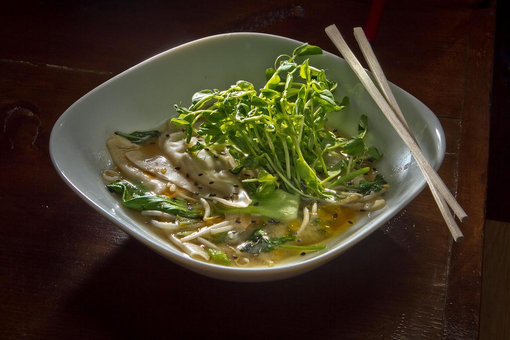 The Black Cod & Bok Choy dumplings at Olive & Vine restaurant in Glen Ellen, Calif., is seen on Friday, May 18th, 2012.
