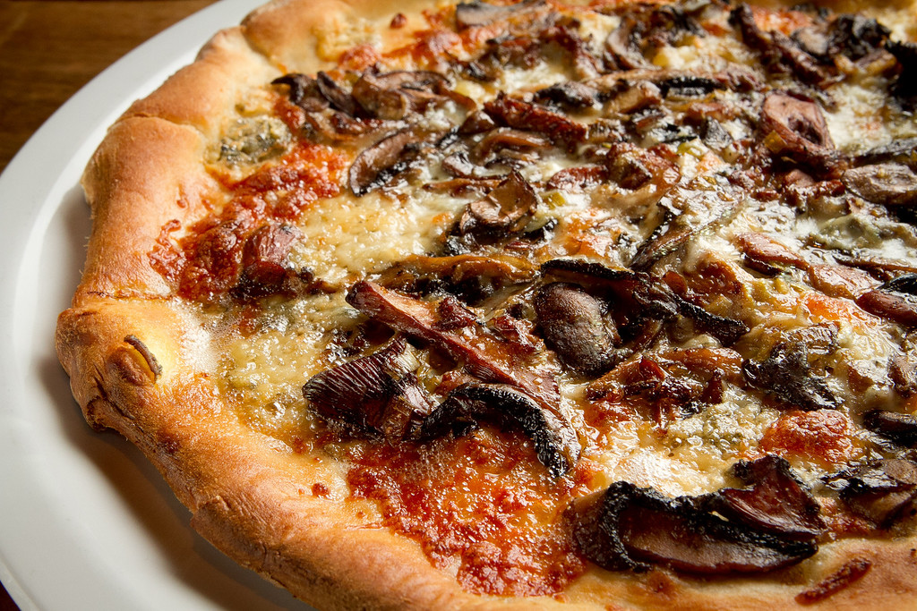 The Roasted Mushroom Pizza at Origen restaurant in Berkeley, Calif., is seen on Thursday, February 2, 2012.