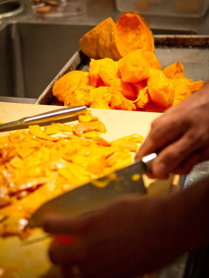 Roasted Squash being trimmed at Origen restaurant in Berkeley, Calif., on Thursday, February 2, 2012.
