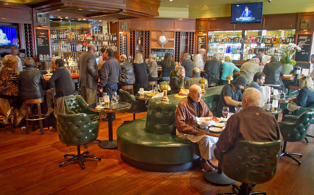 Diners enjoy lunch in the bar at Original Joe's Restaurant in San Francisco, Calif., on Thursday, January 26th, 2012.