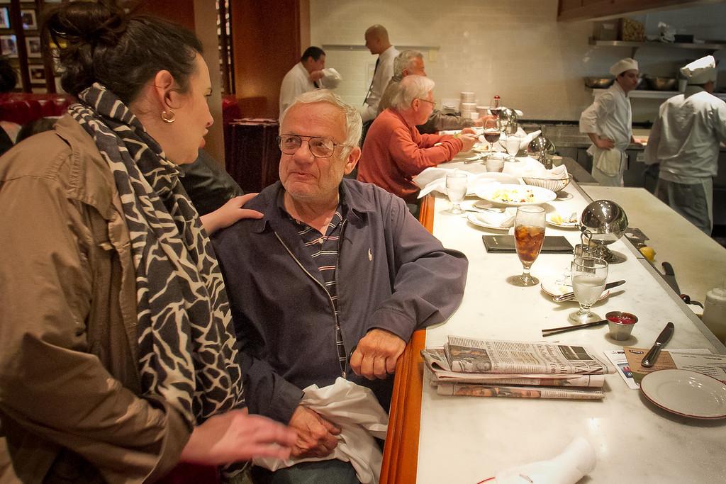 Owner Elena Duggan talks with long time customer Bob Shapiro at counter at Original Joe's Restaurant in San Francisco,  Calif., on Tuesday, March 20th, 2012.