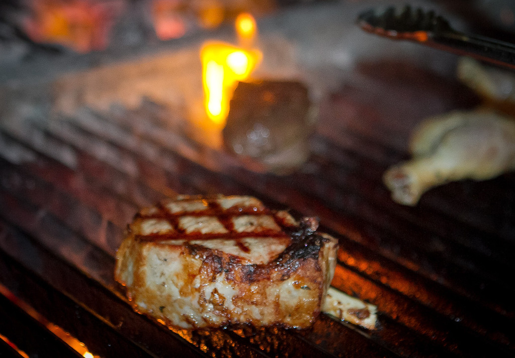 A Pork Chop being grilled at Original Joe's Restaurant in San Francisco,  Calif., is seen on Tuesday, March 20th, 2012.
