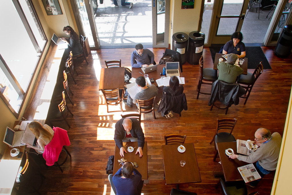 People enjoy lunch at PIQ Cafe in Berkeley, Calif., is seen on Friday, February 17th, 2012.