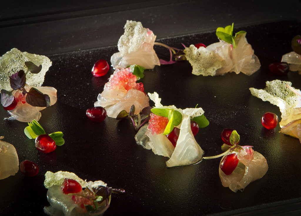 The Kampachi Sashimi appetizer at Parallel 37 restaurant in the Ritz Carlton Hotel in San Francisco, Calif., is seen on Thursday, December 15th,  2011.