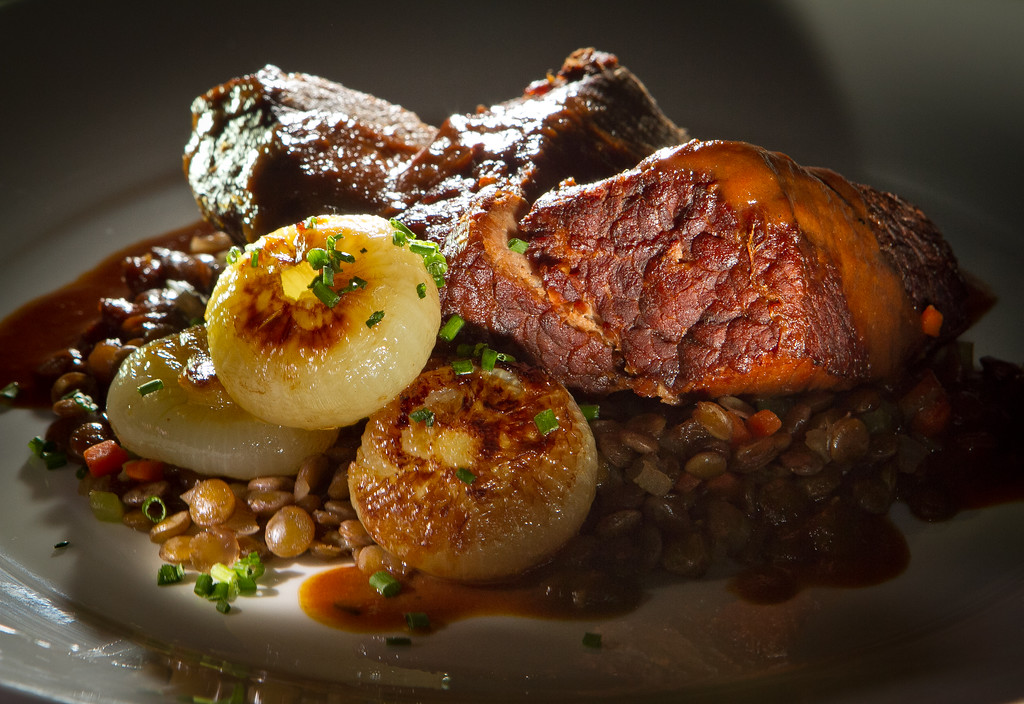 The Braised Tomato Truffle Brisket at Per Diem restaurant in San Francisco,  Calif., is seen on Friday, March 30th, 2012.