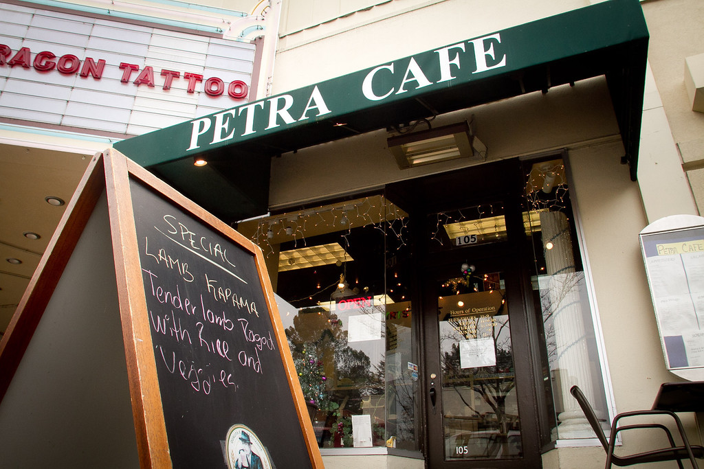 The exterior of the Petra Cafe in Orinda, Calif., is seen on Thursday, December 29th, 2011.