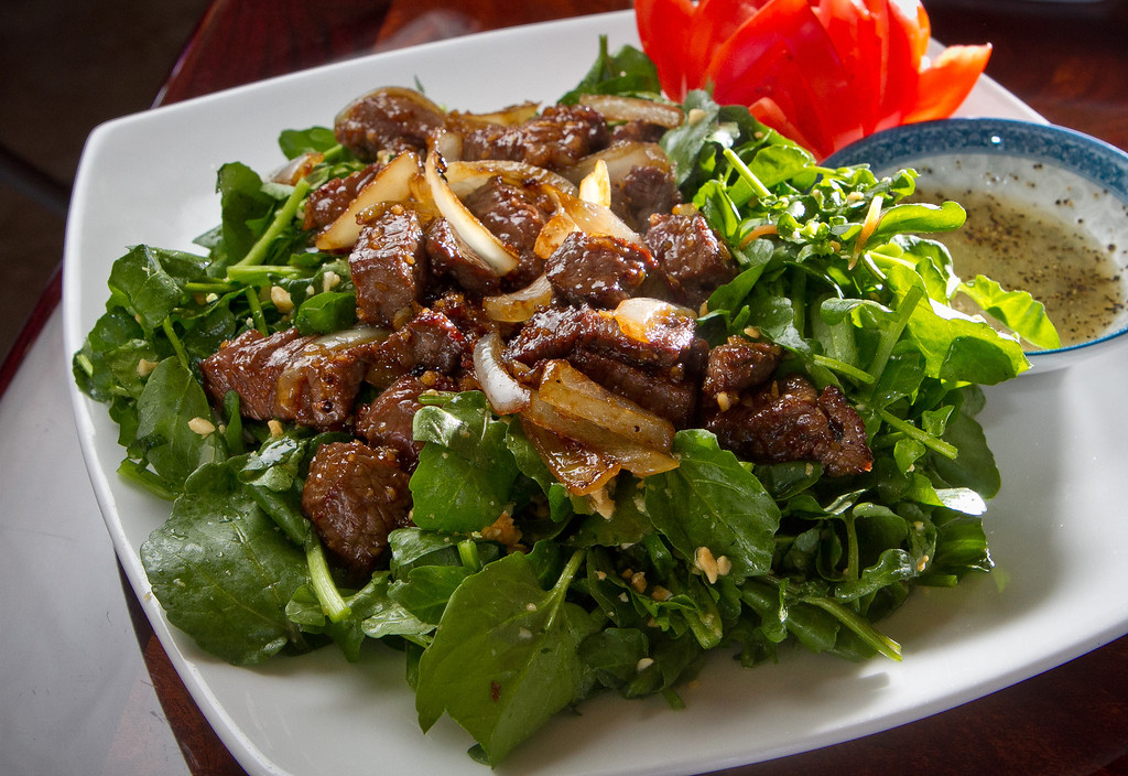 The Cube Steak with Watercress Salad at Pho Vet Restaurant in San Rafael, Calif., is seen on Wednesday, March 7th, 2012.