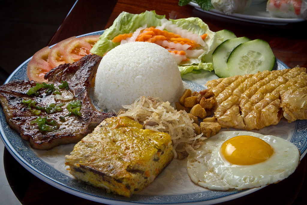 The Pork Chop Rice Plate with Shrimp Cake and Crab Cake at Pho Vet Restaurant in San Rafael, Calif., is seen on Wednesday, March 7th, 2012.