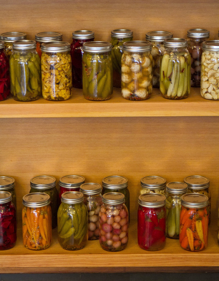 Pickles on display at Pig and Pie restaurant in San Francisco, Calif., are seen on Thursday, Oct.25th, 2012