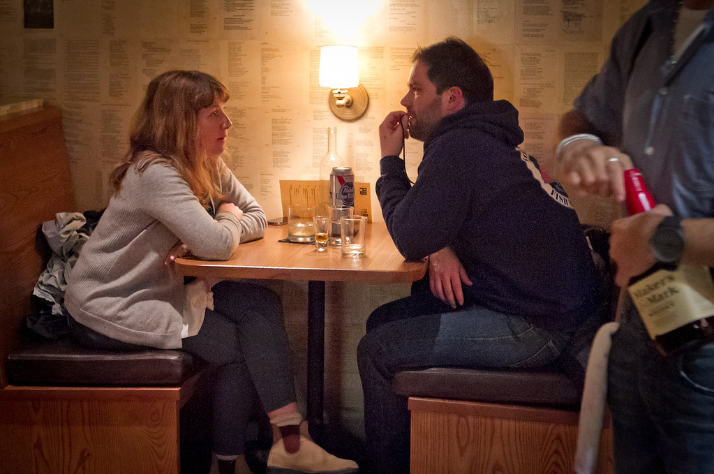 A couple enjoy cocktails at the Plum Bar in Oakland, Calif., on Thursday, January 19th, 2012.