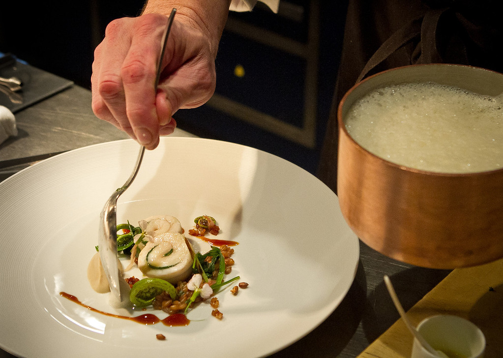 Chef Michael Tusk puts foam on the Dover Sole at Quince Restaurant in San Francisco, Calif., on Thursday April 6th, 2012.
