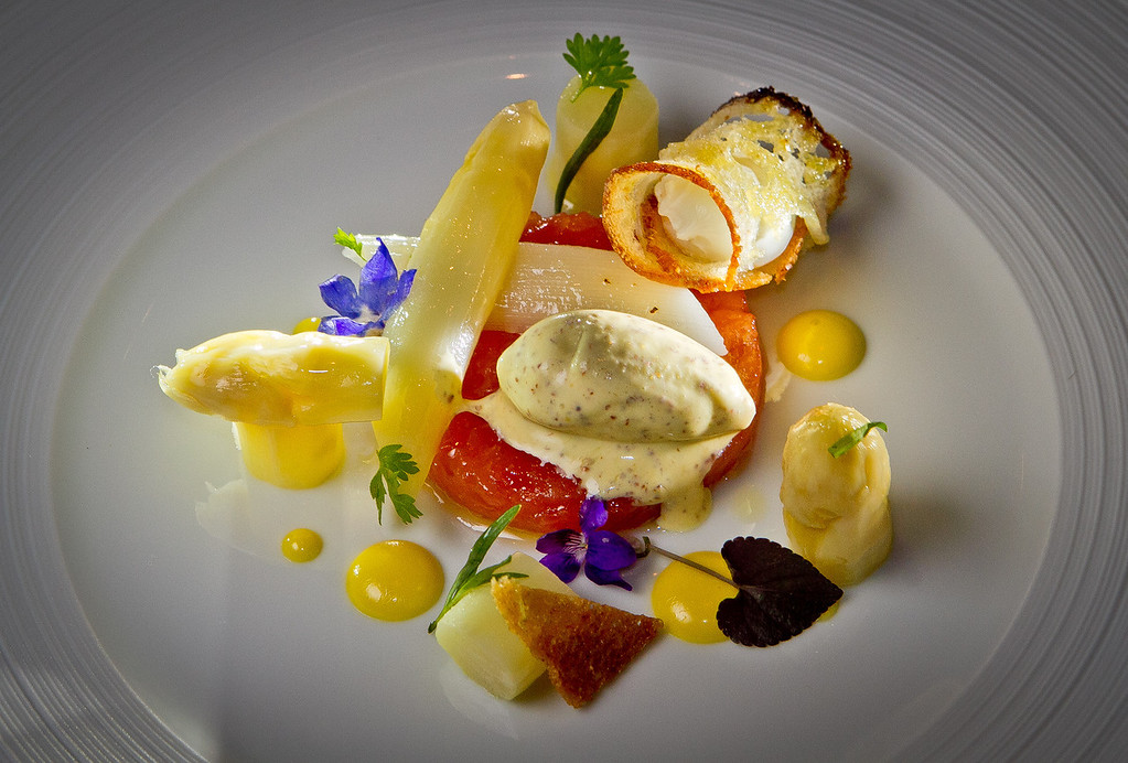 The White Asparagus with Steelhead, Quail Egg and Mustard Ice Cream at Quince Restaurant in San Francisco, Calif., is seen on Thursday April 6th, 2012.