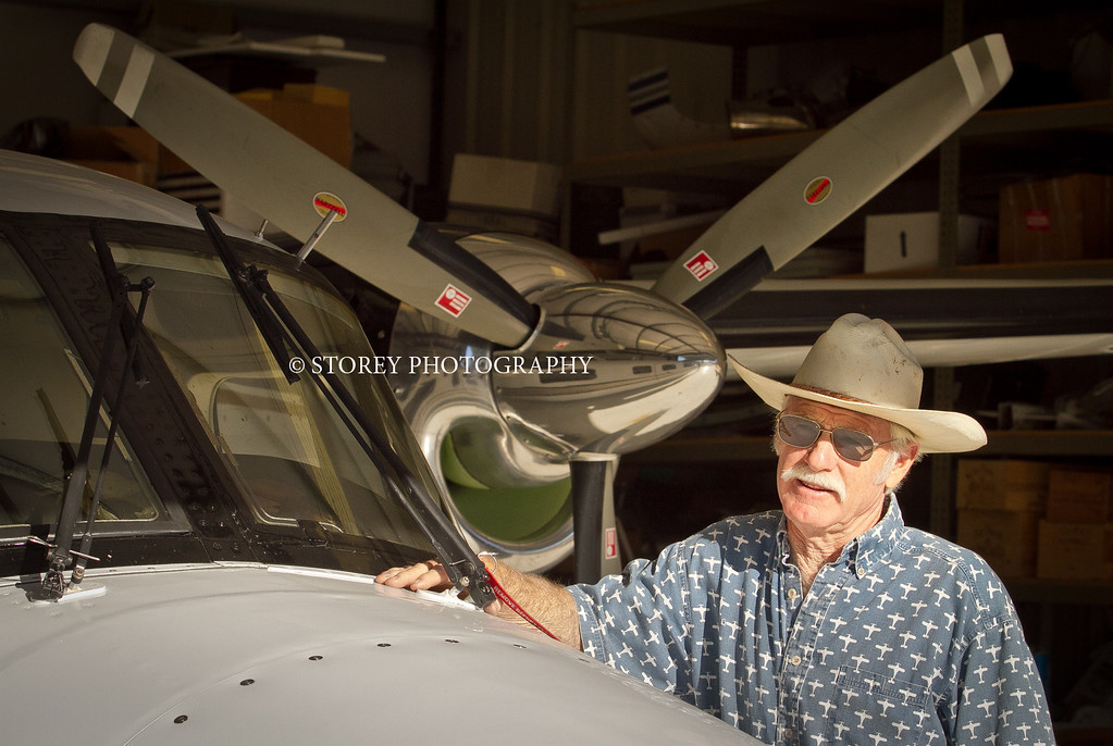 Randy Dunn with his airplane at the airport in Angwin, Calif., on Thursday, August 16th, 2012.