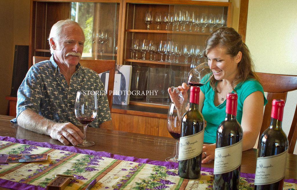 Randy Dunn tries wines with his daughter, Kristina Dunn Buchanan in the winery office in Angwin, Calif., on Thursday, August 16th, 2012.