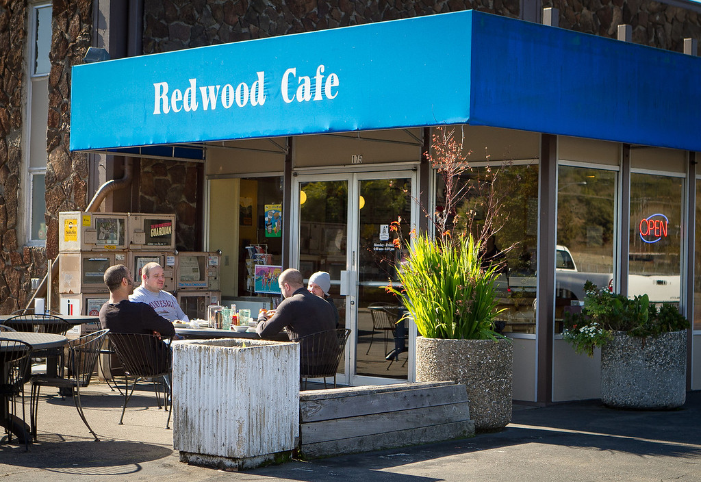 Diners enjoy lunch in the sunshine outside the Redwood Cafe in San Rafael, Calif., is seen on Friday, January 27th, 2012.