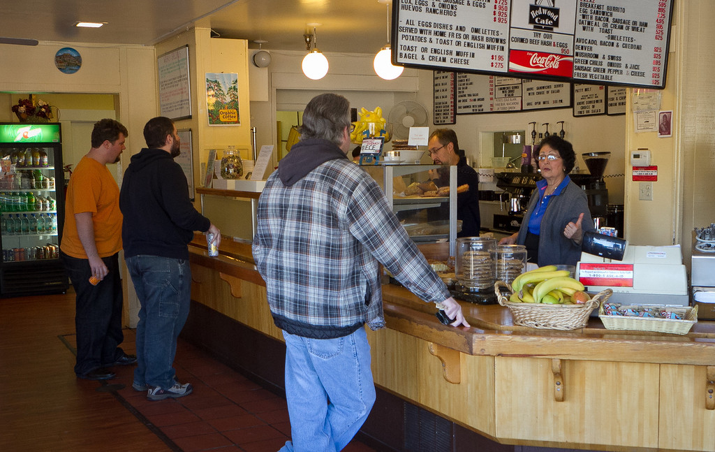 Customers order at the counter at the Redwood Cafe in San Rafael, Calif., on Friday, January 27th, 2012.